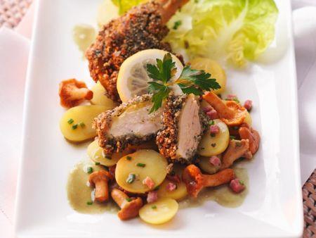 Stubenküken mit Salat