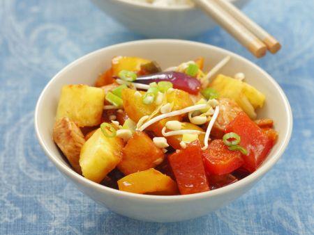 Rezept: Süß-sauer mariniertes Hähnchen mit Paprika