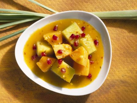 Rezept: Süßes Curry mit Melone und Granatapfel