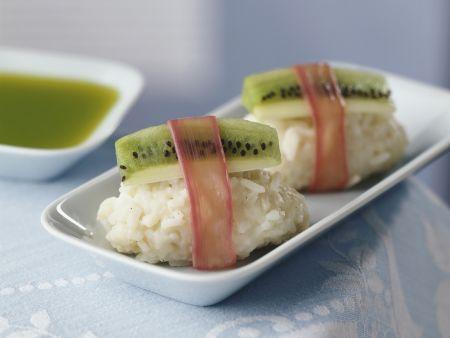 Süßes Sushi mit Kiwi und Rhabarber