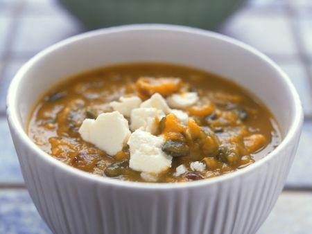 Suppe aus gebackenem Kürbis
