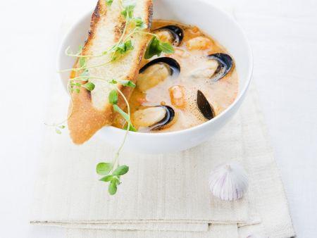 Suppe mit Miesmuscheln