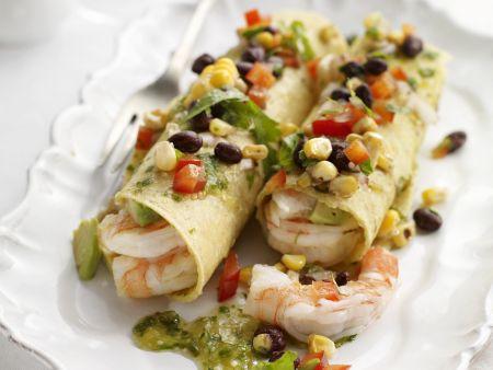 Tacos mit Shrimps, grüner Salsa und Pico de Gallo