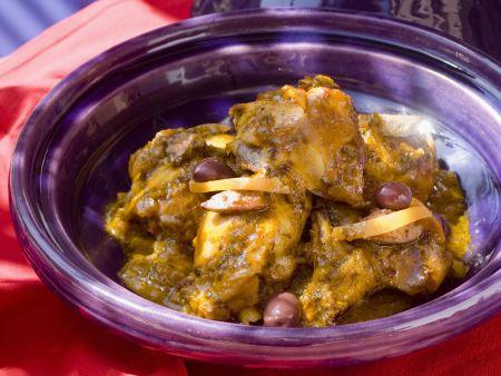 Rezept: Tajine mit Hähnchen, Oliven und Zitrone