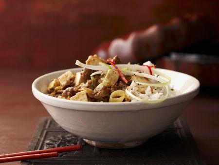 Rezept: Tofu mit Schwein auf chinesische Art