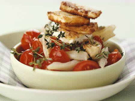Tomaten-Fenchel-Gemüse mit gebratenem Feta