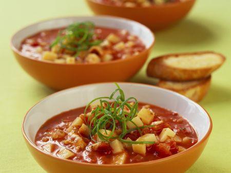 Tomaten-Kartoffel-Suppe mit Fisch