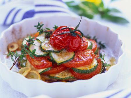 Tomaten-Zucchini-Auflauf mit Knoblauch