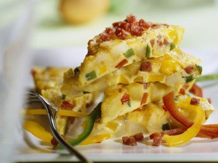 Rezept: Tortilla mit Paprika und Salami