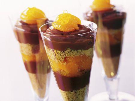 Trifle mit Mandarinen und Schokolade