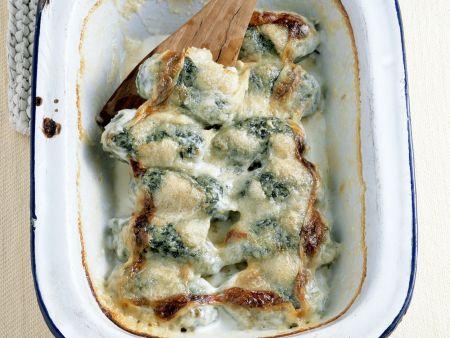 Überbackene Mangold-Käse-Nockerl)