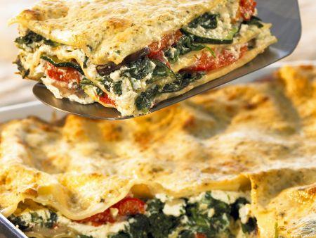 Vegetarische Lasagne mit Bärlauchsoße