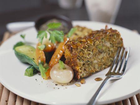 Rezept: Vegetarischer Falscher Hase und glasiertes Gemüse