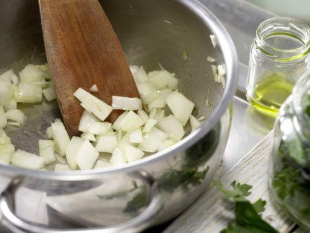 Vollkorn-Pasta mit grüner Sauce: Zubereitungsschritt 3