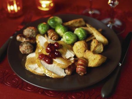 Weihnachtlicher Putenbraten