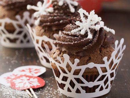 Winterliche Schokoladen-Cupcakes