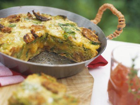 Wirsing-Omelett nach italienischer Art mit Tomatendip