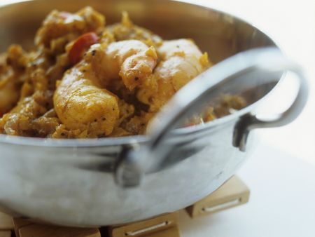 Wok-Shrimps mit Curry