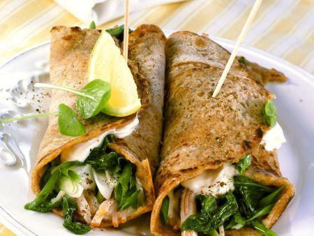 Rezept: Wraps gefüllt mit Putenschinken und Spinat