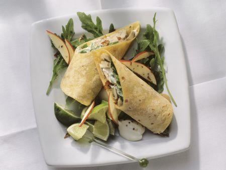 Wraps mit Pilz-Apfel-Füllung und Rucola