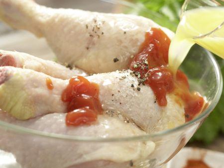 Würzige Hähnchenunterkeulen: Zubereitungsschritt 1