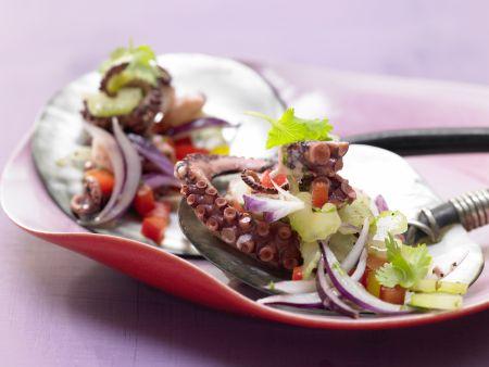Würziger Oktopus-Gemüse-Salat