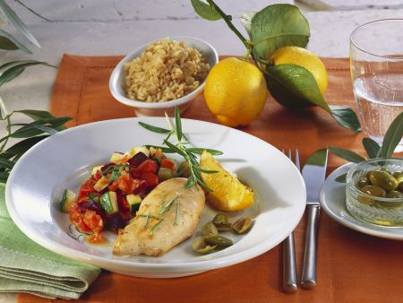Zitronen-Hähnchenbrust mit Ratatouille-Gemüse