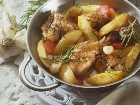 Zitroniges Hähnchen mit Kartoffeln und Tomaten
