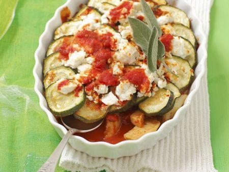 Zucchinigratin mit Tomaten und Käse