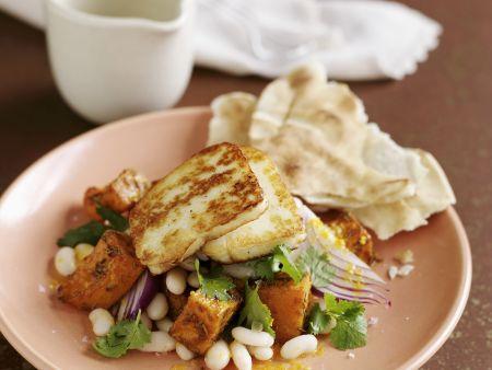 Zypriotischer Grillkäse (Halloumi) mit Bohnen-Kürbis-Salat