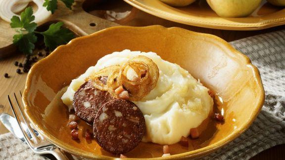 Rezept: Apfel-Kartoffel-Püree mit Blutwurst (Himmel und Erde)