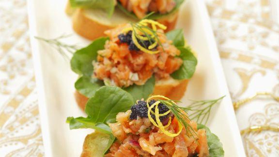 Rezept: Appetithäppchen mit Lachs und Kaviar