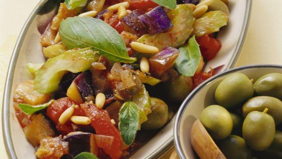 Rezept: Auberginen und Sellerie in süß-saurer Marinade (Caponata)