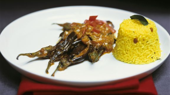 Rezept: Auberginencurry mit orientalischem Reis (Pilaw)