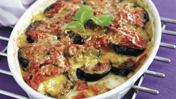 Rezept: Auberginengratin mit Mozzarella