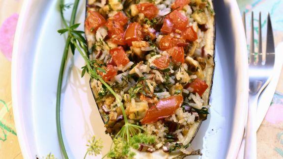 Rezept: Auberginenschiffchen mit Füllung