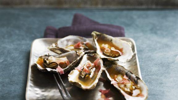 Rezept: Austern mit Schinken