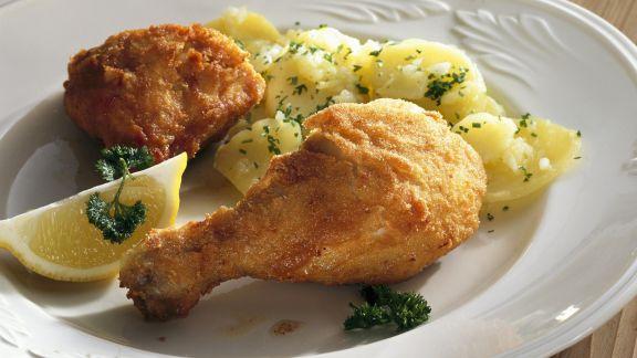 Rezept: Backhendl auf Wiener Art mit Kartoffeln