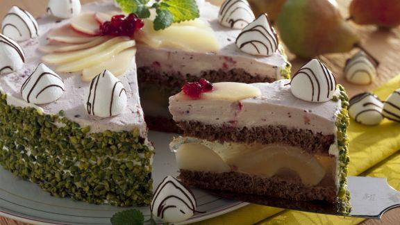 Rezept: Birnen-Baiser-Torte