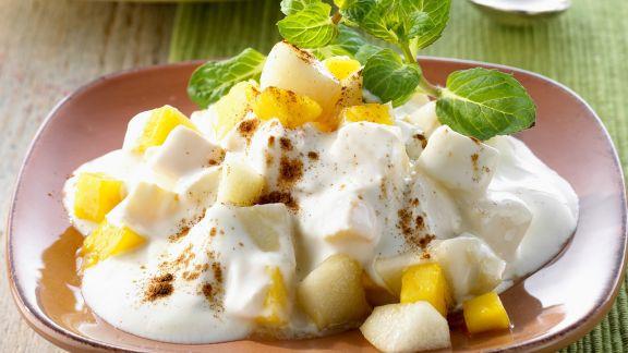 Rezept: Birnen-Pfirsich-Joghurt auf indische Art (Raita)