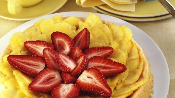 Rezept: Biskuitkuchen mit Ananas