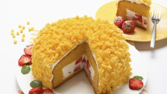 Rezept: Biskuittorte auf italienische Art (Torta mimosa)