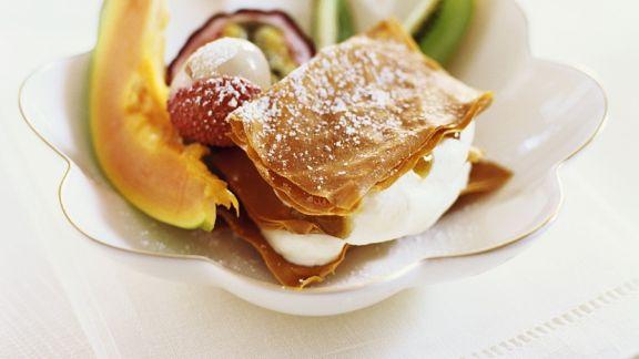 Rezept: Blätterteig-Sahne-Lasagne mit exotischem Obst