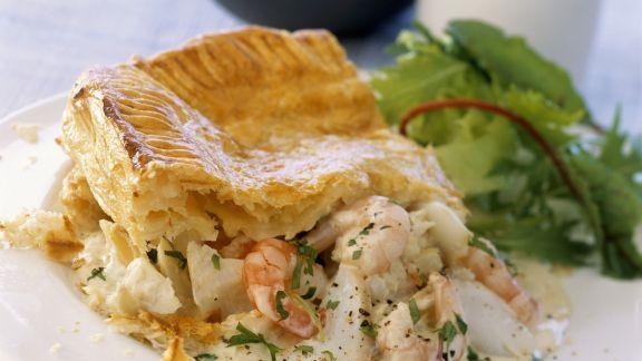 Rezept: Blätterteigpastete mit Fisch und Meeresfrüchten