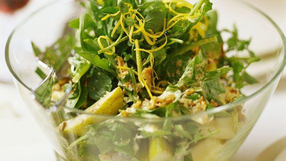 Rezept: Blattsalat mit Birne, Rucola und Wasserkresse