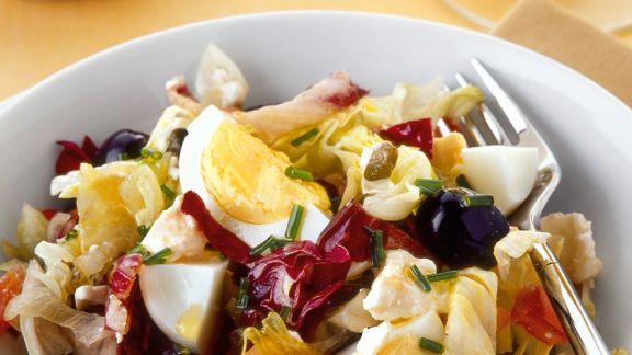 Rezept: Blattsalat mit Ei