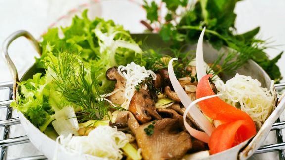 Rezept: Blattsalat mit Pilzen