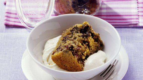 Rezept: Blaubeerkuchen mit Vanillecreme