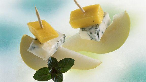 Rezept: Blauschimmelkäse-Birnen-Spießchen