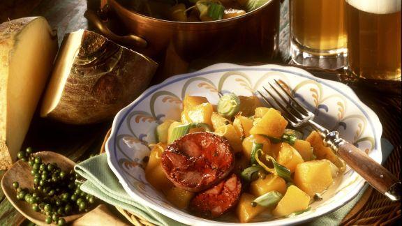 Rezept: Blutwurst mit Pfeffer-Rüben-Gemüse